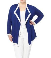 plus size women's anne klein colorblock drapey cardigan, size 0x - blue