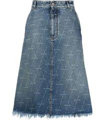 balenciaga logo-print a-line denim skirt