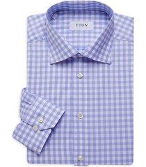 eton men's gingham dress shirt - blue - size 15