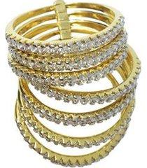 anel kumbayá 7 aliancas da felicidade banho de ouro 18k com zirconia rodio feminino