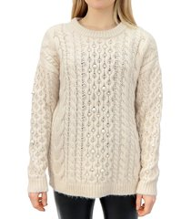 rd style women's faux pearl-trim cable-knit sweater - almond - size s