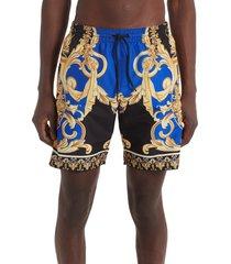 men's versace barocco swim trunks, size 5 - blue