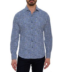 robert graham classic fit performance sport shirt, size small in navy at nordstrom
