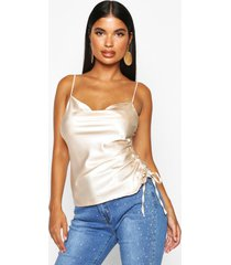 petite ruched side satin cowl neck cami top, champagne