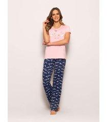 pijama any any poliéster e viscose rosa