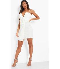 blazer jurk met bandjes en ceintuur, white