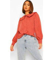 blouse met stippen, kraag en knopen, rose