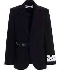 off-white strap fastening blazer