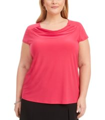 kasper plus size cowlneck solid stretch top