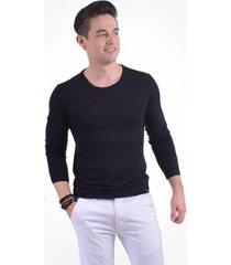 camiseta manga longa gola redonda levok masculina - masculino
