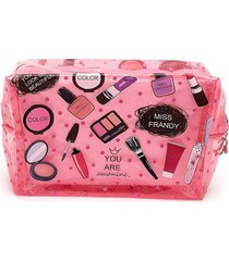 cosmetiquera con glitter color rosado, talla uni