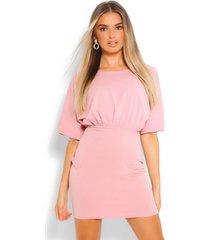 3/4 blouson mini dress, blush