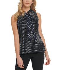dkny dot print pleated tie-neck top
