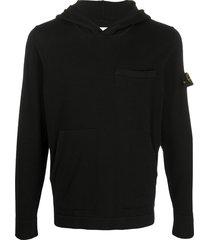 stone island logo patch long-sleeved hoodie - black