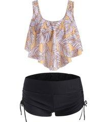 overlay flounces cinched leaves print tankini swimsuit