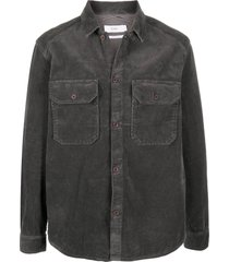 closed chest pockets corduroy shirt - grey