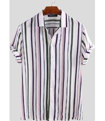 incerun hombres rayas multicolor camisa