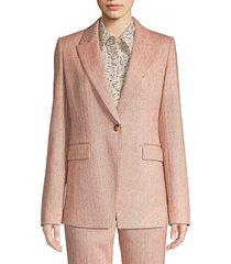 lafayette 148 new york women's heather speckled herringbone jacket - henna multi - size 14