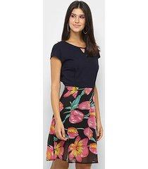 vestido royallove curto saia floral