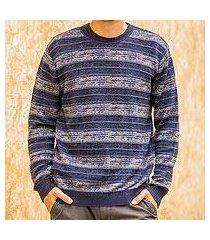 men's pima cotton crewneck sweater, 'laguna' (peru)