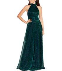 betsy & adam metallic cutout-back halter gown