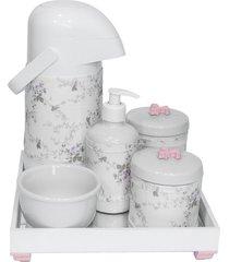 kit higiene espelho completo porcelanas, garrafa e capa flor de liz rosa quarto beb㪠menina - rosa - menina - dafiti