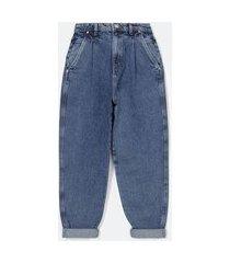 calça baggy jeans com pregas frontais e bolso faca com recorte no espelho do bolso   blue steel   azul   36