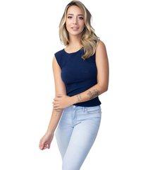 regata vicbela camiseta canelada azul marinho - azul marinho - feminino - poliã©ster - dafiti
