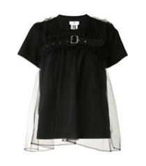 comme des garçons noir kei ninomiya camiseta com sobreposição de tule e cinto - preto
