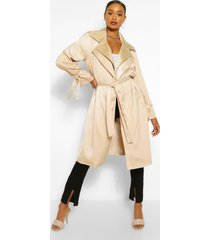 double layer oversized trench coat, stone