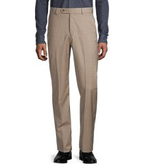 saks fifth avenue men's wool flat front trousers - taupe - size 35