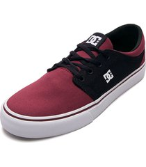tenis skateboarding vinotinto-negro-blanco dc shoes trse tx
