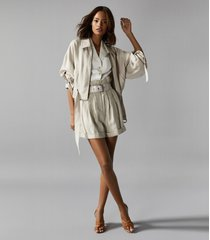 reiss sia - point collar belted jacket in neutral, womens, size 10