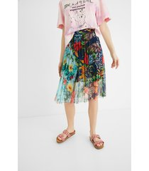 pleated floral midi-skirt - white - xl