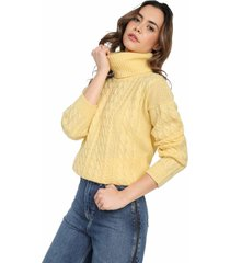 saco trenza completo cuello tortuga giive - umc512-amarillo