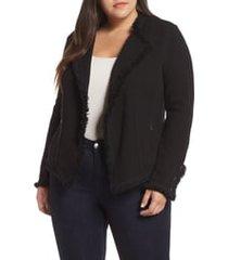 plus size women's nic+zoe fringe mix jacket, size 2x - black
