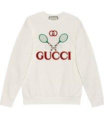 gucci gucci embroidered sweatshirt - neutrals