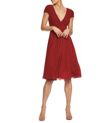 women's dress the population corey chiffon fit & flare cocktail dress, size large - red