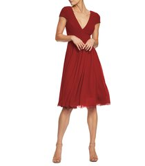 women's dress the population corey chiffon fit & flare cocktail dress, size x-large - red