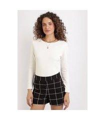 blusa feminina básica manga longa decote redondo branca