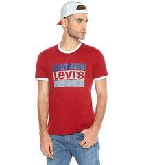 camiseta vinotinto-blanco levis