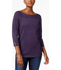karen scott petite cotton button-trim sweater, created for macy's