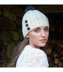 cream woman hat pom pom o/s