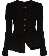 a.w.a.k.e. mode tailored peplum collarless jacket - black
