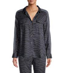 vintage havana women's zebra-print shirt - slate charcoal - size s