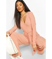 ribbed long sleeve tie waist jumpsuit, apricot
