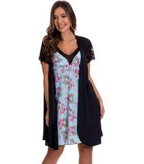 camisola amamentaã§ã£o estilo sedutor em liganete azul estampada com robe preto - dr211-es207-v38 - multicolorido - feminino - dafiti