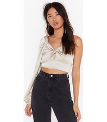 womens don't even tie satin crop blouse - stone