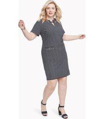 tommy hilfiger women's essential curve maritime dress sky captain / ivory - 14w