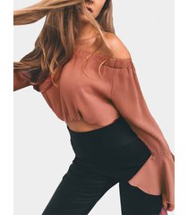rust off-the-shoulder long flared sleeves crop top